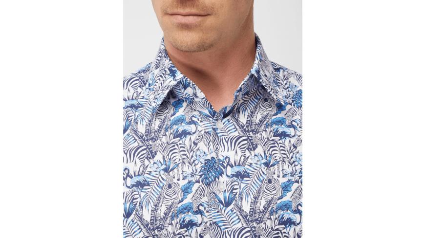 Modern Fit Freizeithemd mit Allover-Muster