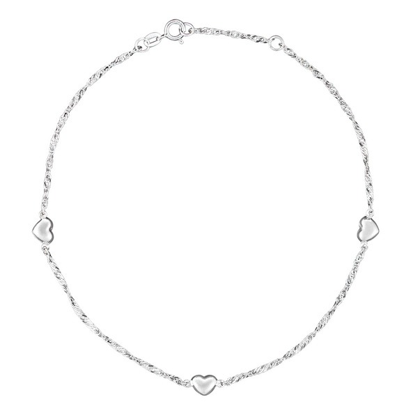 Fußkettchen - Silver Hearts