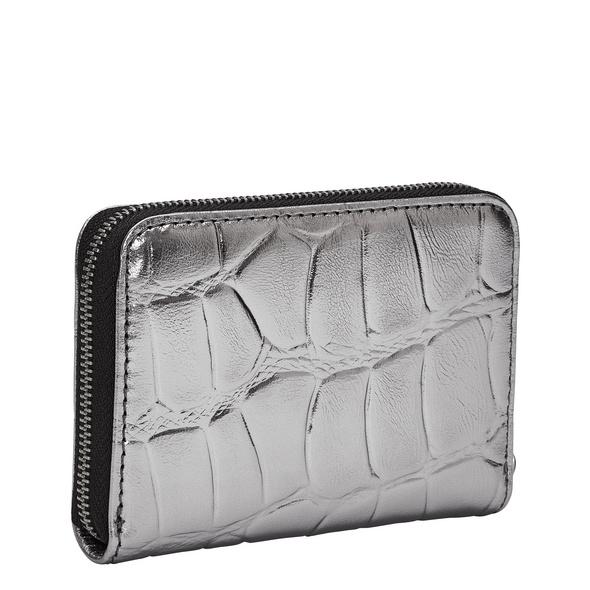 kleine Krokodil Geldbörse aus Glattleder - Kroko Metallic Eliza
