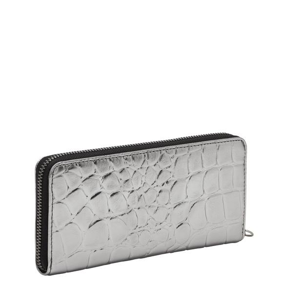 große Geldbörse mit Krokoprägung - Kroko Metallic Gigi