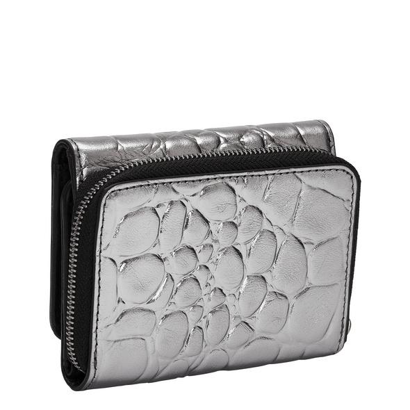 mittelgroße Krokodil Geldbörse in Metallic - Kroko Metallic Pablita