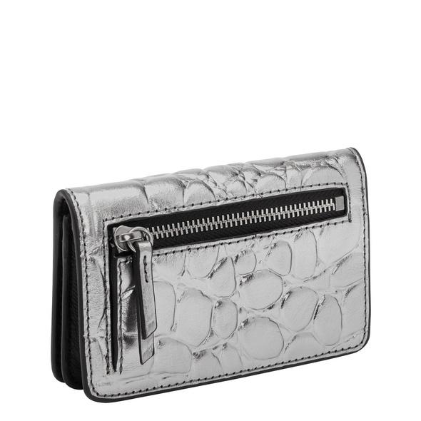 kleine Krokodil Geldbörse aus Glattleder - Kroko Metallic Cardi