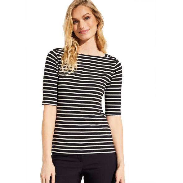 Shirt mit Karreeausschnitt - Streifenshirt