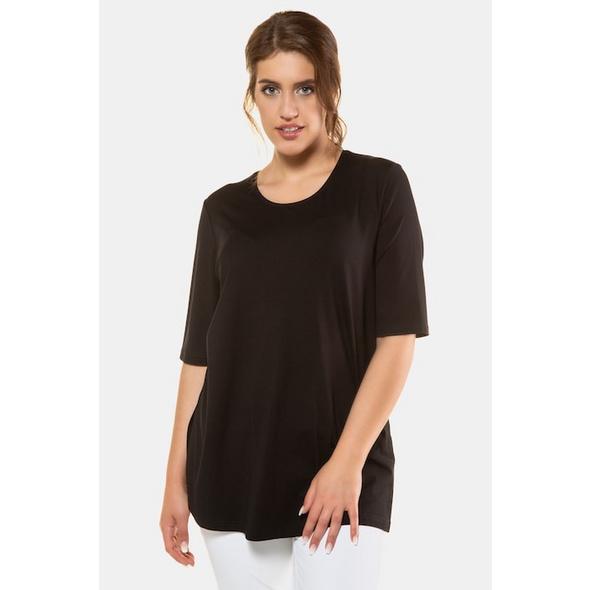 Ulla Popken T-Shirt, Seitenschlitze, Rundhals, Elasthan, selection - Große Größen