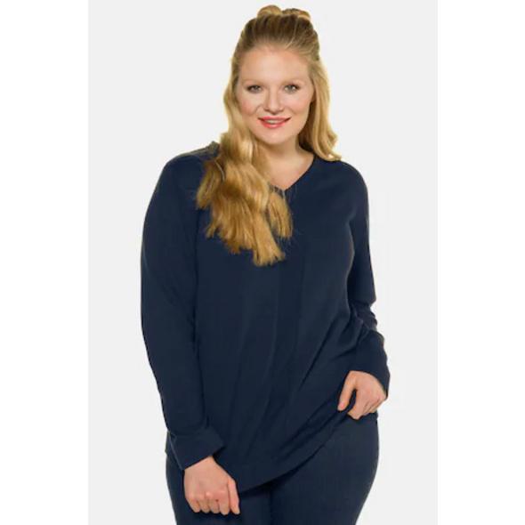 Ulla Popken Pullover, Linksstrick-Streifen, V-Ausschnitt, Baumwolle - Große Größen