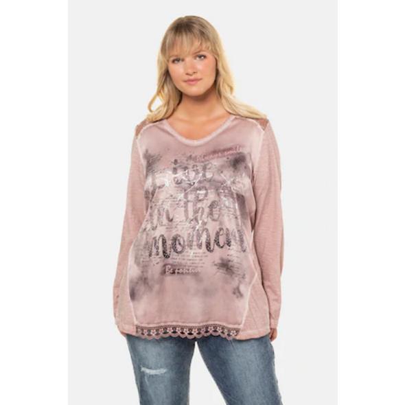 Ulla Popken Shirt, verzierte Schrift, Classic, Spitze - Große Größen