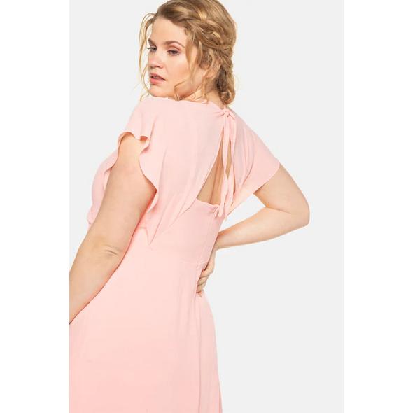 Chiffon-Kleid, drapierte Büste, Flügelärmel, Unterkleid
