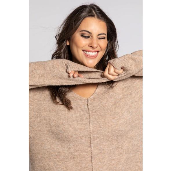 Pullover, Ziernaht, Oversized, weicher Feinstrick
