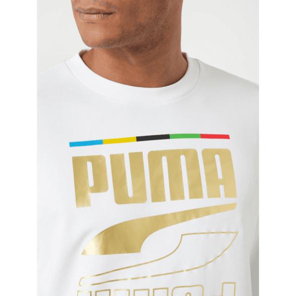 Sweatshirt mit Logo-Print in Metallic-Optik