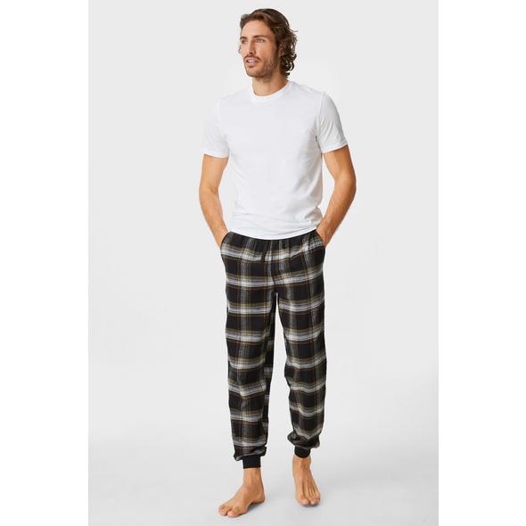 Flanell-Pyjamahose - kariert