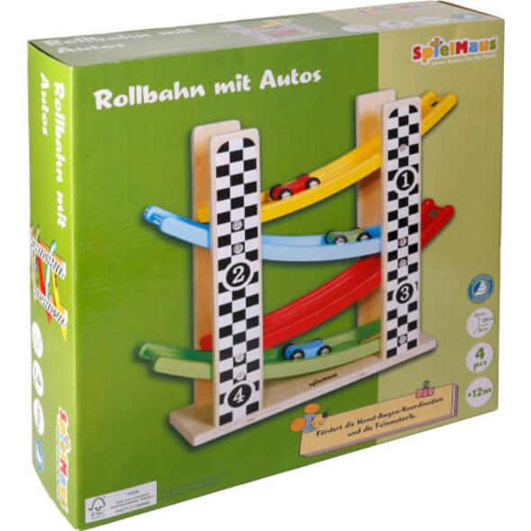 SpielMaus Holz Rollbahn mit Autos