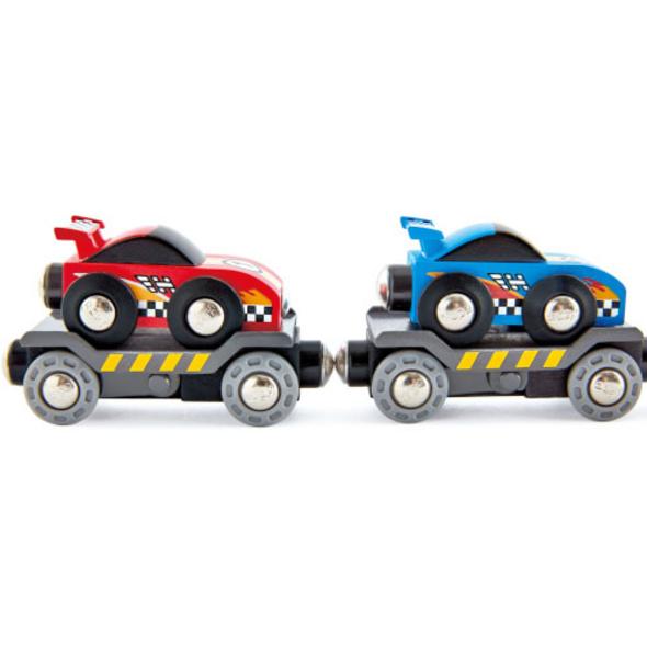 Hape Rennwagen-Transporter