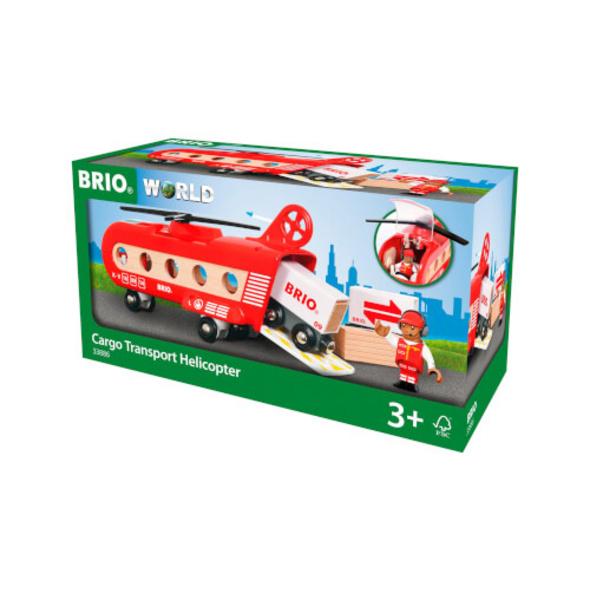 BRIO 63388600 Eisenbahn-Transporthubschrauber, ab 3 Jahre, Holz