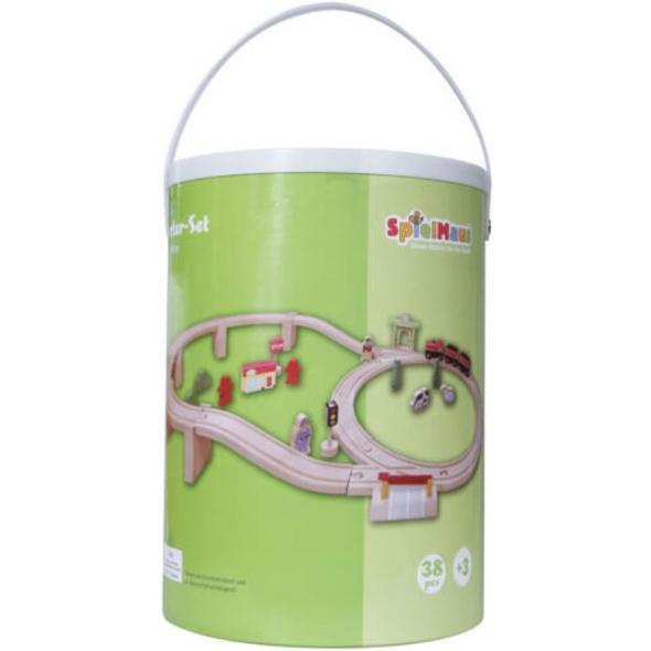 SpielMaus Holz Holzeisenbahn in Trommel, 38-teilig