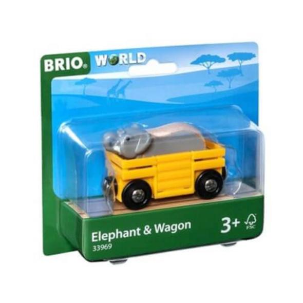 BRIO 63396900 Tierwaggon Elefant D