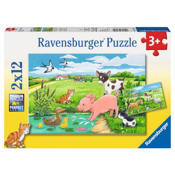 Ravensburger 07582 Puzzle Tierkinder auf dem Land 2 x 12 Teile