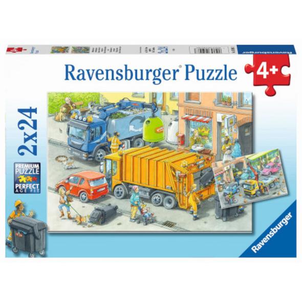 Ravensburger 05096 Puzzle Müllabfuhr und Abschleppwagen 2x24 Teile