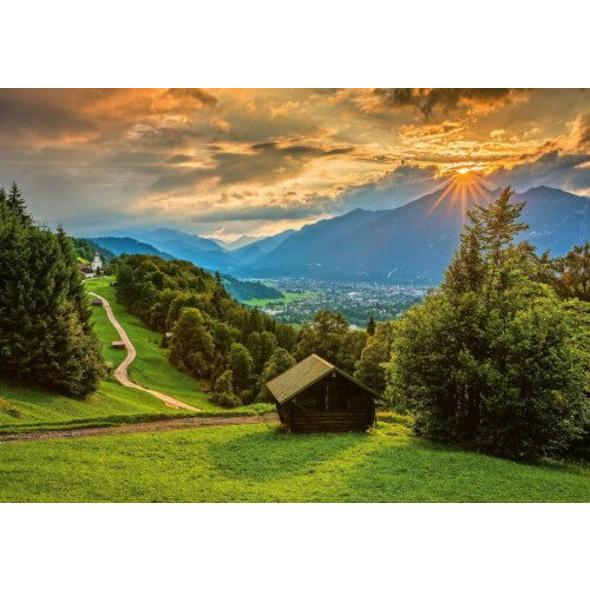 Schmidt Spiele 58970 Puzzle 1500T.Sonnenuntergang ber dem Bergdorf Wamberg