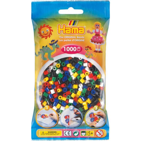 HAMA Bügelperlen Midi - Vollton Mix 1000 Perlen (6 Farben)