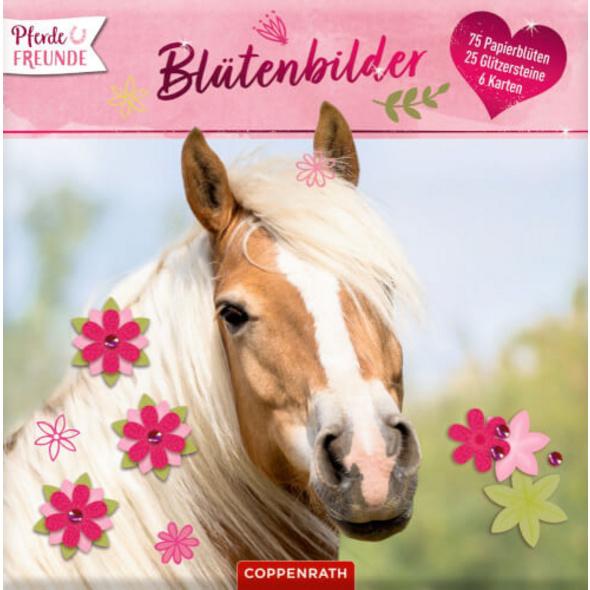 Pferdefreunde: Blütenbilder  Karten, Papierblumen, Glitzersteine