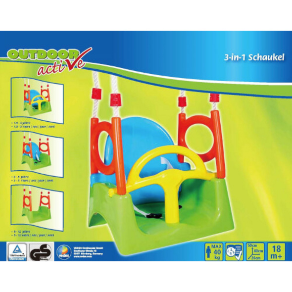 Outdoor active 3 in 1 Schaukel, Maximale Belastbarkeit 40 kg, Outdoorspielzeug, ca. 40x33x150 cm, ab 18 Monaten