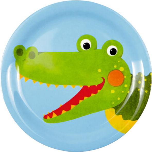 Die Spiegelburg - Freche Rasselbande Melamin-Teller Krokodil, # ca. 17,5 cm, Bisphenol A frei