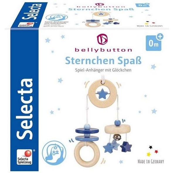 Selecta 64015 - bellybutton, Sternchen Spaß, Minitrapez, Spiel-Anhänger, Holz, blau, 15,5 cm