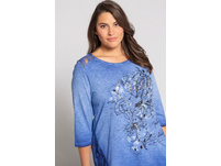 T-Shirt, Blütenmotiv, A-Linie, cool dyed, Pailletten