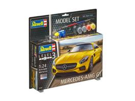 REVELL 67028 Modellbausatz Mercedes AMG GT mit Basisfarben 1:24, ab 10 Jahre