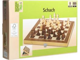 Natural Games Schachkassette dunkel, 29x29 cm, Strategiespiel, ca. 29x29x2,2cm, für 2 Spieler, ab 8 Jahren